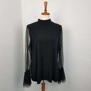Thalia Sodi Black Mesh Sleeve High Neck Blouse Top